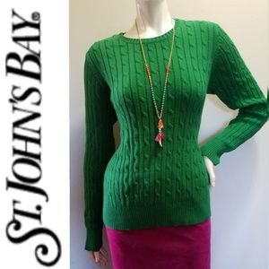 NWOT Classic Kelly Green Cable Knit Sweater LARGE
